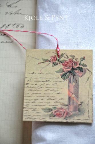 10 Etikett Anhänger ROSE LETTER Rose /& Brief Vintage 6x7cm 0,19€//St