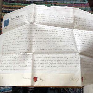 Antique 1843 Hand Written Vellum Document Wakefield Printer Contractor Shares