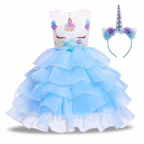 Flower Pageant Princess Costume Dress up Unicorn Tutu Party Dress for Girls