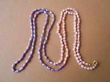 Zierliche lange Rosa-/Lilafarbene Süsswasser Perlenkette Kette 12,3 g / ca.83 cm
