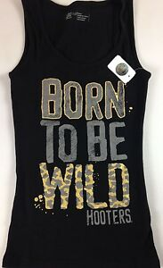 Hooters Girl Shirt Tank Top Waitress Stretch Born To Be Wild Leopard Cheetah Hot