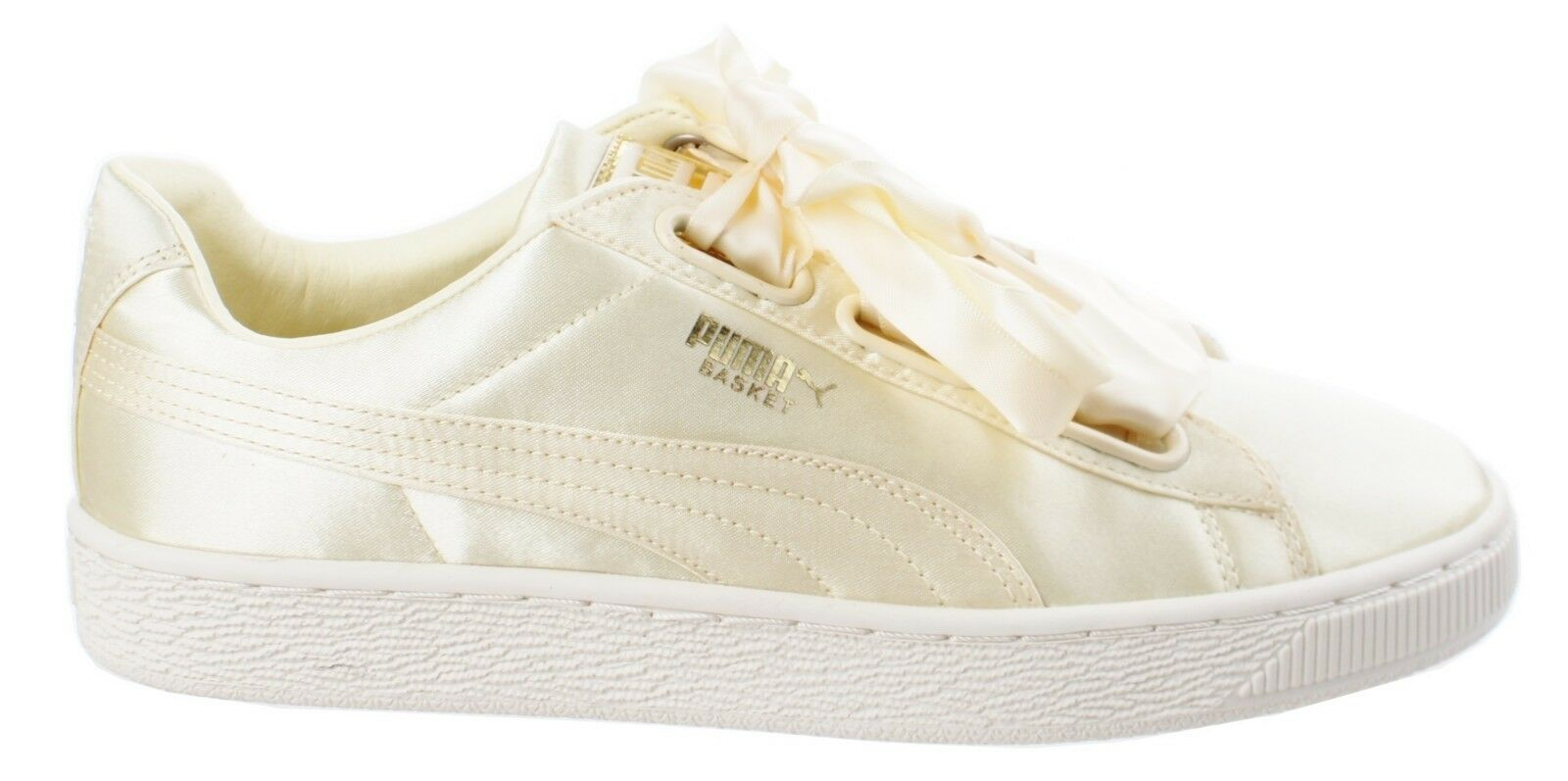 efe24820385b6 Puma Basket Basket Basket Heart Satin Transparent jaune-Or-Whisper blanc  baskets Femmes 866c71