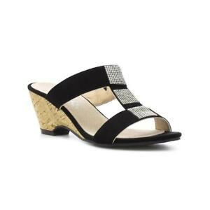a43439c13113 Image is loading Lilley-Womens-Black-Diamante-Wedge-Mule-Sandal-Sizes-