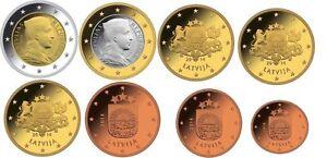 KMS-Lettland-Latvia-2014-bankfrisch-lose-Alle-8-Muenzen-1-cent-bis-2-Euro