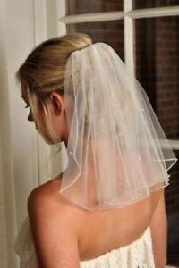 2020 new beaded wedding veil short white /ivory bridal