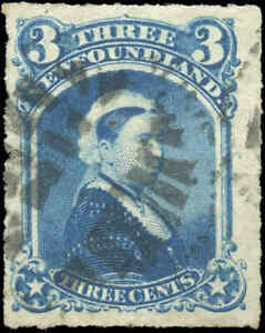 Used-Canada-Newfoundland-1877-F-VF-3c-Scott-39-Queen-Victoria-Stamp