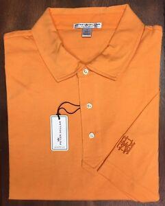 Peter-Millar-Orange-HBA-BHA-Logo-Pima-Cotton-Tailored-Fit-Polo-Golf-Shirt-Size-L