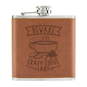 Attention-Crazy-Cafe-Lady-170ml-Cuir-PU-Hip-Flasque-Brun-Maman-Mothers-Day-Drole