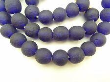 "24"" handmade deep cobalt blue recycled glass trade beads African tribal AB-0032"