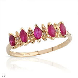 STUNNING-SOLID-10K-YELLOW-GOLD-GENUINE-RUBY-AND-DIAMOND-RING-7-U-540