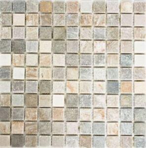 Quarzit Mosaik Beige Grau Gelb Kuche Wand Boden Dusche Art Wb36
