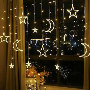LED-Lichterkette-Stern-LichterVorhang-Fenster-Baum-Weihnachtsdeko-warmweiss-dek