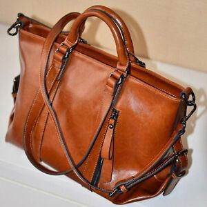 Damen-British-Retro-Ol-Leder-portable-Schulter-laessigen-Lederhandtasche-Braun