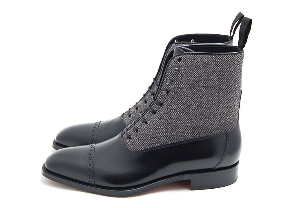 MEN HANDMADE BOOTS TWO TONE CAP TOE BOOTS HANDMADE MEN BLACK AND GRAY ANKLE LACE UP BOOTS def023