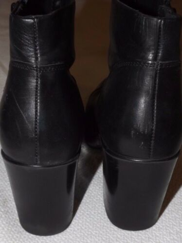Ladies TopShop Cuero Negro Botas al Tobillo Cremallera & patente Toes Size UK 5 EU 38