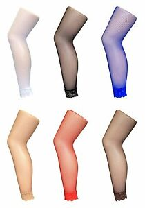 Sock-Snob-UK-Ladies-Sexy-Neon-Coloured-Footless-Fishnet-Tights-with-Lace-Trim