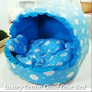 Luxury Pet Bed Sky Blue Cotton Cloud Large House Plush Cave Bed for Dog//Cat