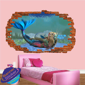 Mermaid Tropical Fish Seabed Wall Stickers 3d Art Poster Mural Decal