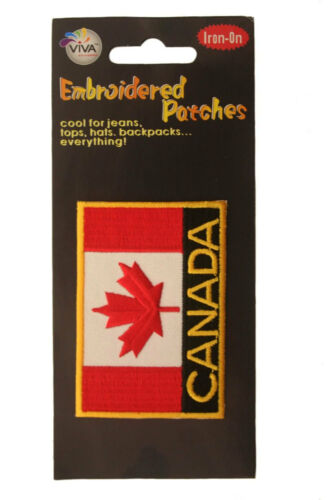 CANADA SQUARE YELLOW RIM EMBROIDERED IRON-ON PATCH CREST BADGE 3 X 2 INCH