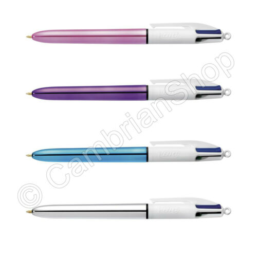 BIC 4 Multi Colour Shine Ballpoint Pen Blue Green Pink Silver Purple 3 Pack