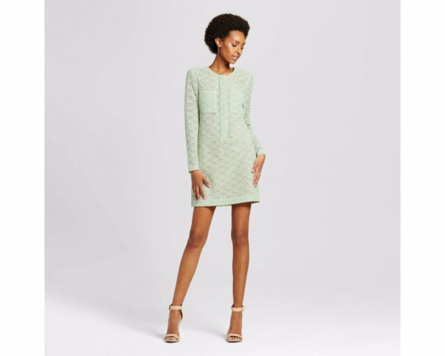 Victoria Beckham For Target Mint Green Long Sleeve Lace Dress Womens Xs S M