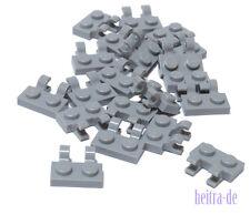 LEGO - 20 x Platte 1x2 mit 2 x O - Clip senkrecht hellgrau / 60470b NEUWARE (L03