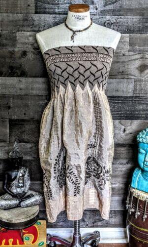 Lapis Vintage Y2K Summer Sun Dress Strapless Bohem