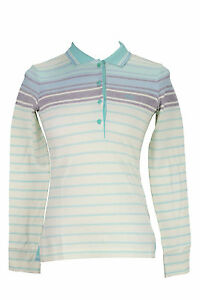 Hugo-Boss-Striped-Women-039-s-Polo-Tennis-Shirt-Long-Sleeve-Button-Front-Sz-Small-S
