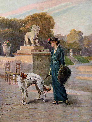 BORZOI CHARMING DOG GREETINGS NOTE CARD LADY IN EDWARDIAN DRESS AND HER DOG
