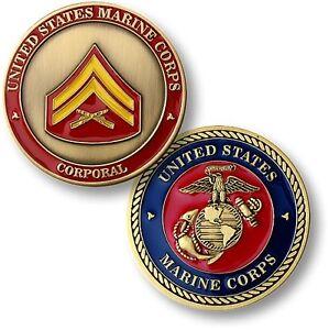 Marine Corps Corporal Challenge Coin Cpl E-4 Rank US USMC Insignia ...