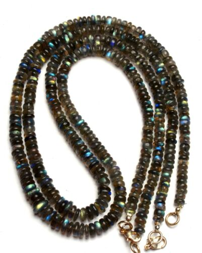 "Natural Gem Blue Fire Labradorite 5-6MM Size Smooth Rondelle Beads Necklace 18/"""
