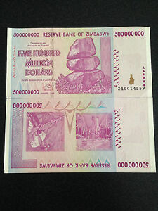 Zimbabwe 500 Million Dollars Billets De