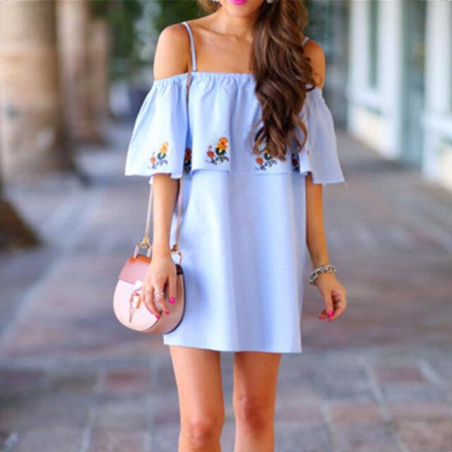 Women Off-shoulder Summer Beach Dress Casual Evening Party Short Mini Dress New
