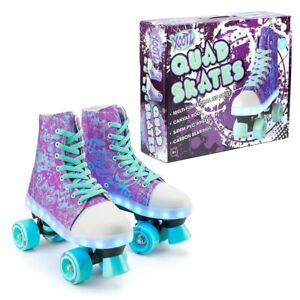 Xootz-Kids-Quad-Canvas-Roller-Boots-Skates-Blade-with-LED-Lights-And-Stoppers