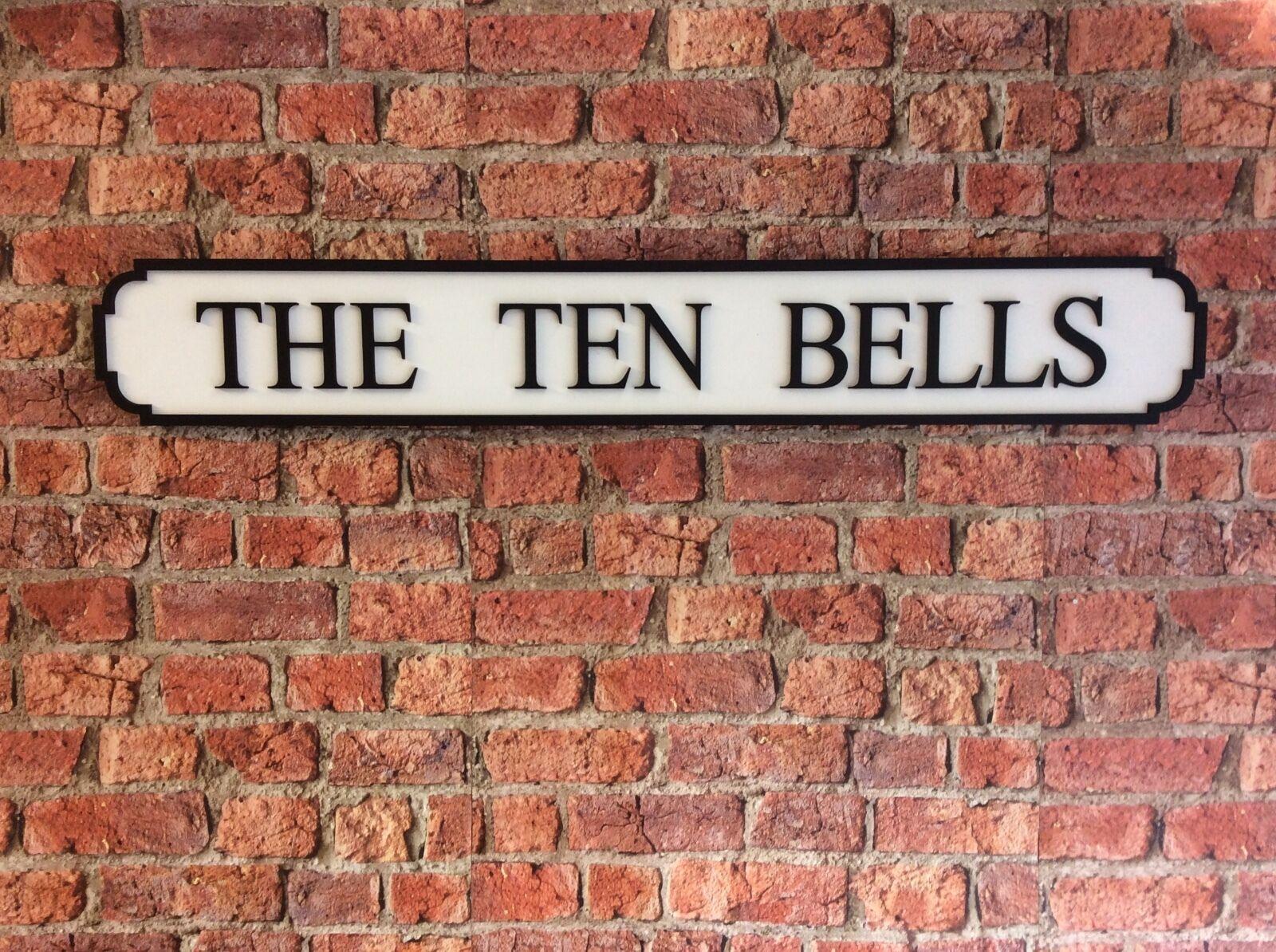 Vintage Wood Street Road Sign THE TEN BELLS