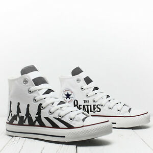 819149ef6d74 Custom Abbey Road Beatles Converse All Star High Top Chuck Taylor ...