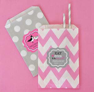 Personalized Themed Chevron & Dots Wedding Party Goodie Candy Bar Favor Bags