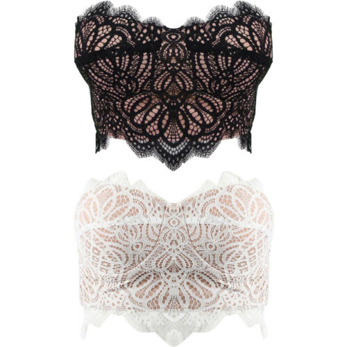 New Bandeau Floral Eyelash Lace Nude Lined Boob Tube Party Crop Top Vest Bralet