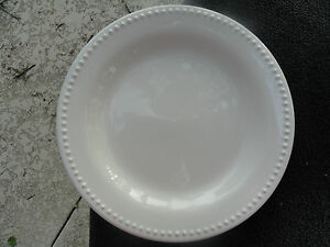 Image is loading Pottery-Barn-Emma-Beaded-Rim-Off-White-Dinner- & Pottery Barn Emma Beaded Rim Off White Dinner Plate | eBay