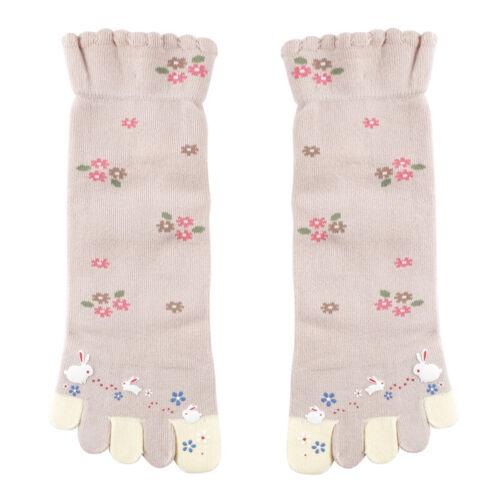 4X Women Toe Socks Five Fingers Flower Rabbit Random Color One Size Cute Casual