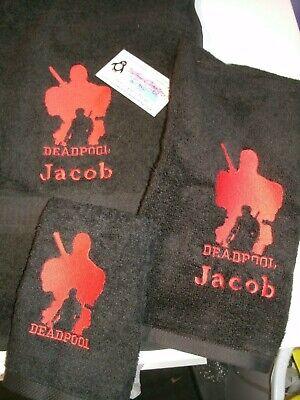 Dead Pool Logo Personalized 3 Piece Bath Towel Set Comic Book Your Color Choice