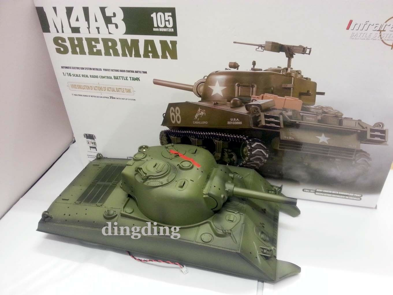 Heng Long 2.4G Sherman M4A3  rc 1 16 scale tank up hull complete with RX18 cable