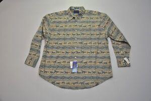 Pendleton-Shirt-Men-039-s-XL-Wild-Bill-Western-Cowboy-Horses-Native-American-Blue