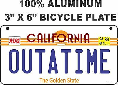 "Back to the Future / Delorean / OUTATIME LICENSE PLATE - BICYCLE SIZED 3"" X 6"""