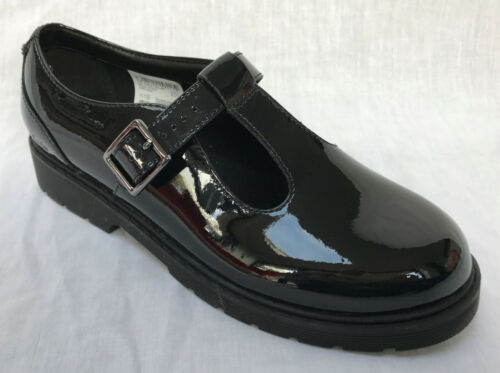 BNIB Clarks Purley Go Girls Black Patent Leather School Shoes F//G Fitting