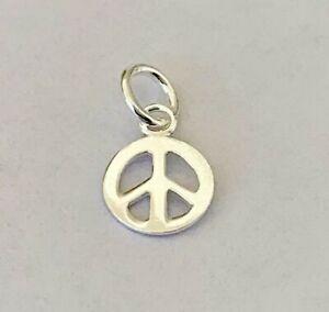 925-Sterling-Silver-Peace-Sign-Pendant-Mini-Small-Charm-Girls-Women-Men