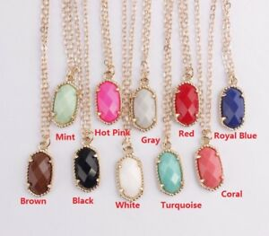 Gold-Silver-Plated-Faceted-Resin-Pendant-Boutique-Chocker-Necklace-for-Girls
