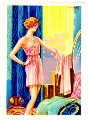POSTCARD ADVERTISING INDANTHREN FABRICS LINGERIE ARTISTSIGNED DUPUIS
