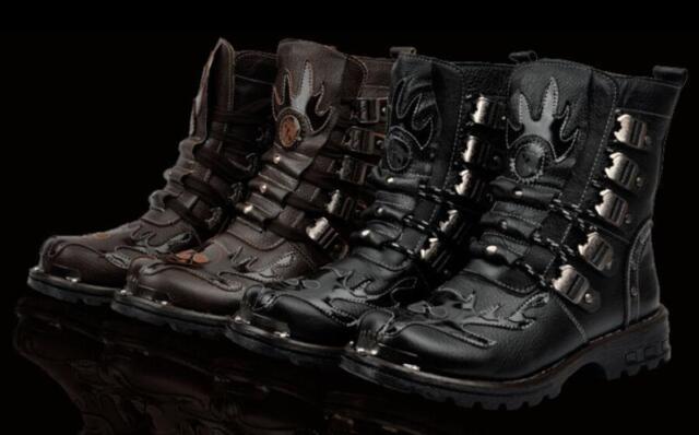 Men Retro Buckle Strap Fashion Ankle Boots Military Combat Motorcycle Punk Shoe