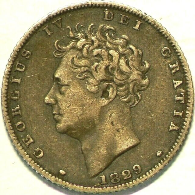 1829 Great Britain 6 Pence George IV Silver KM#698 #6777